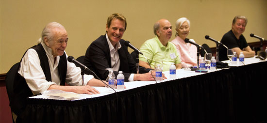 "Ray Nielsen (green shirt) moderates a panel discussion with Henry Darrow (""High Chaparral""), Duncan Regehr (""Zorro""), Lisa Lu (Hey Girl on ""Have Gun Will Travel"") and Guy Williams Jr. (his father was Disney's ""Zorro"")."