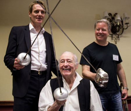 A crossed swords salute to Zorro with Duncan Regehr, Henry Darrow and Guy Williams Jr.