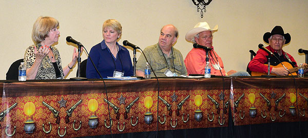 "Panel discussion with Charlotte Stewart and Alison Arngrim of ""Little House on the Prairie"" with banquet entertainers Rex Allen Jr. and Les Gilliam."