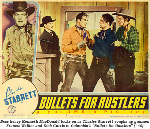 "boss heavy Kenneth MacDonald looks on as Charles Starrett roughs up gunmen Francis Walker and Dick Curtis in Columbia's ""Bullets for Rustlers"" ('40)."