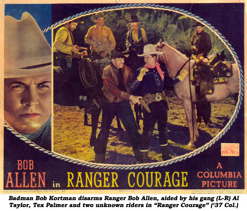 "Badman Bob Kortman disarms Ranger Bob Allen, aided by his gang (L-R) Al Taylor, Tex Palmer and two unknown riders in ""Ranger Courage"" ('37 Columbia)."