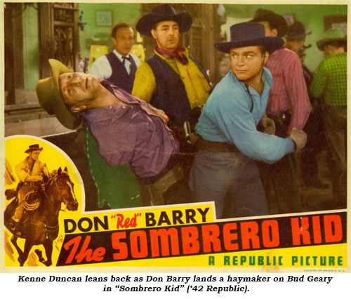 "Don Barry lands a haymaker on Bud Geary in ""Sombrero Kid"" ('42 Republic)."