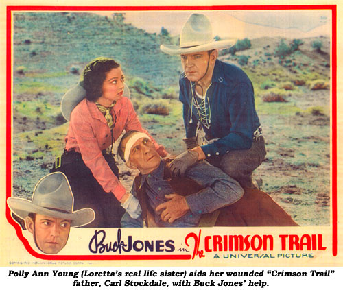 "Polly Ann Young (Loretta's real life sister) aids her wounded ""Crimson Trail"" father, Carl Stockdale, with Buck Jones' help."