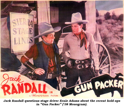 "Jack Randall questions stage driver Ernie Adams about the recent hold-ups in ""Gun Packer"" ('38 Monogram)."