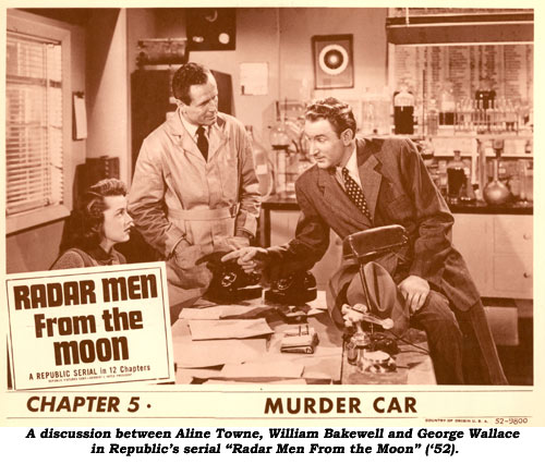 "A discussion between Aline Towne, William Bakewell and George Wallace in Republic's serial ""Radar Men From the Moon""."