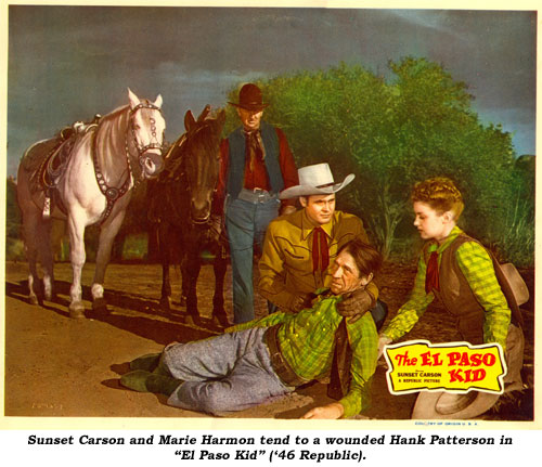 "Sunset Carson and Marie Harmon  tend to a wounded Hank Patterson in ""El Paso Kid"" ('46 Republic)."