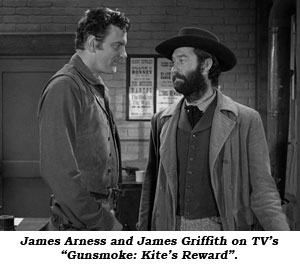 "James Arness and James Griffith on TV's ""Gunsmoke: Kite's Reward""."