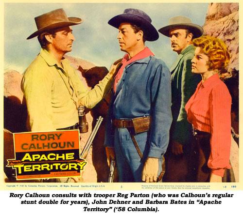 "Rory Calhoun consults with trooper Reg Parton (who was Calhoun's regular stunt double for years), John Dehner and Barbara Bates in ""Apache Territory"" ('58 Columbia)."