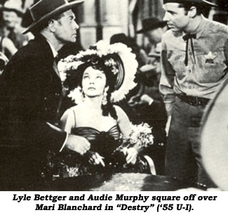 "Lyle Bettger and Audie Murphy square off over Mari Blanchard in ""Destry"" ('55 U-I)."