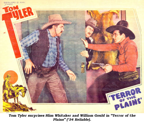 "Tom Tyler surprises Slim Whitaker and William Gould in ""Terror of the Plains"" ('34 Reliable)."
