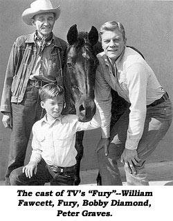"The cast of TV's ""Fury""--William Fawcett, Fury, Bobby Diamond, Peter Graves."