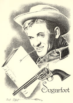 "Drawing of Will Hutchins as ""Sugarfoot"" with law text book and six shooter by Bob Dale"