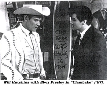 "Will Hutchins with Elvis Presley in ""Clambake"" ('67)."