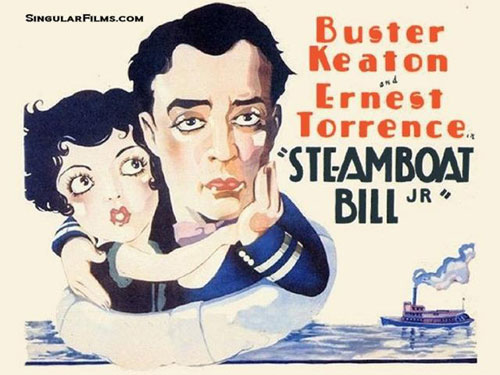 "Lobby card for ""Steamboat Bill Jr."" starring Buster Keaton and Ernest Torrence."