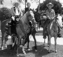 Sheriff Bixcailuz, Barbara Stanwyck and Will Hutchins mounted for Sheriff's Rodeo Parade.