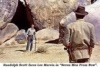 "Randolph Scott faces Lee Marvin in ""Seven Men From Now""."