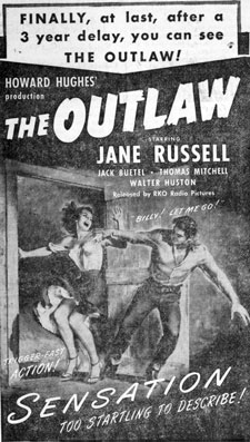 "Neswpaper ad for ""The Outlaw"" starring Jane Russell and Jack Buetel."