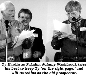Ty Hardin as Paladin, Johnny Washbrook tries his best to keep Ty 'on the right page.' and Will Hutchins as the old prospector.