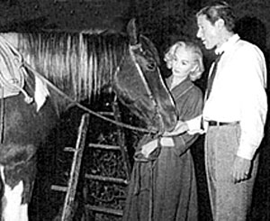 "Efrem Zimbalist Jr. and Jean Simmons with Will Hutchin's horse Penny on the set of ""Sugarfoot""."