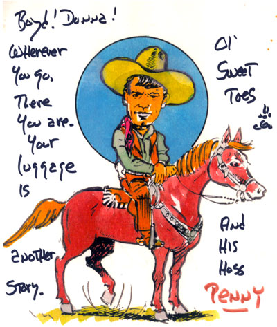 Autographed artwork of Will on his horse Penny.