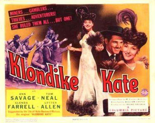 "Title card to ""Klondike Kate"" starring Ann Savage."