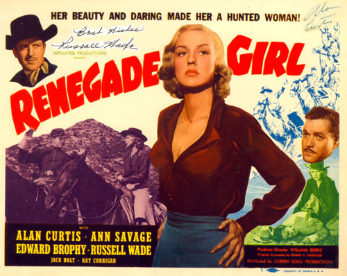 "Title card to ""Renegade Girl"" starring Ann Savage."