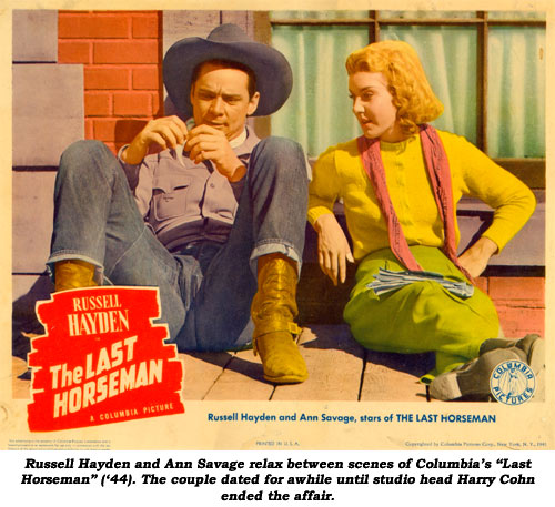 "Russell Hayden and Ann Savage relax between scenes of Columbia's ""Last Horseman"" ('44). The couple dated for awhile until studio head Harry Cohn ended the affair."