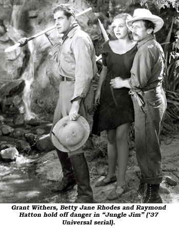 "Grant Withers, Betty Jane Rhodes and Raymond Hatton hold off danger in ""Jungle Jim"" ('37 Universal serial)."