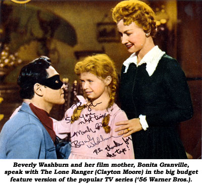 Beverly Washburn and her film mother, Bonita Granville, speak with The Lone Ranger (Clayton Moore) in the big budget feature version of the popular TV seires ('56 Warner Bros.).