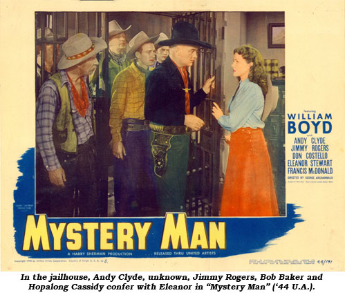 "In the jailhouse, Andy Clyde, unknown, Jimmy Rogers, Bob Baker and Hopalong Cassidy confer with Eleanor in ""Mystery Man"" ('44 U.A.)."