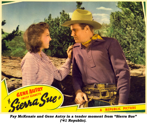 "Fay McKenzie and Gene Autry in a tender moment from ""Sierra Sue"" ('41 Republic)."