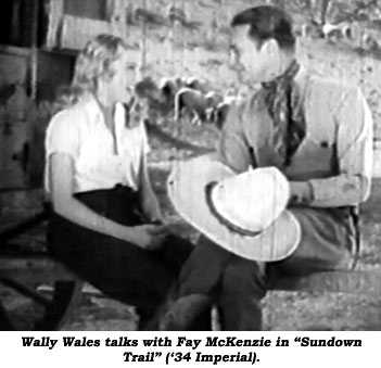 "Wally Wales talks with Fay McKenzie in ""Sundown Trail"" ('34 Imperial)."