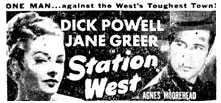"Newspaper ad for ""Station West""."