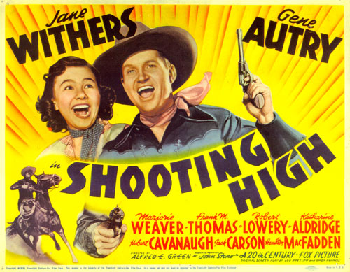 "Title card for ""Shooting High"" starring Gene Autry and Jane Withers."