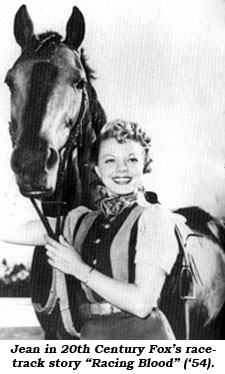 "Jean in 20th Century Foxis racetrack story ""Racing Blood"" ('54)."