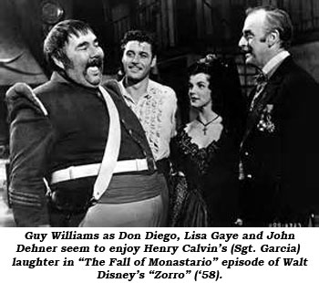 "Guy Williams as Don Diego, Lisa Gaye and John Dehner seem to enjoy Henry Calvin's (Sgt. Carcia) laughter in ""The Fall of Monastario"" episode of Walt Disney's ""Zorro"" ('58)."