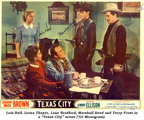 "Lois Hall, Lorna Thayer, Lane Bradford, Marshall Reed and Terry Frost in a ""Texas City"" scene ('52 Monogram)."