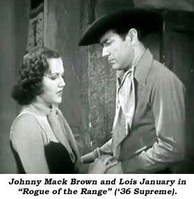 "Johnny Mack Brown and Lois January in ""Rogue of the Range"" ('36 Supreme)."