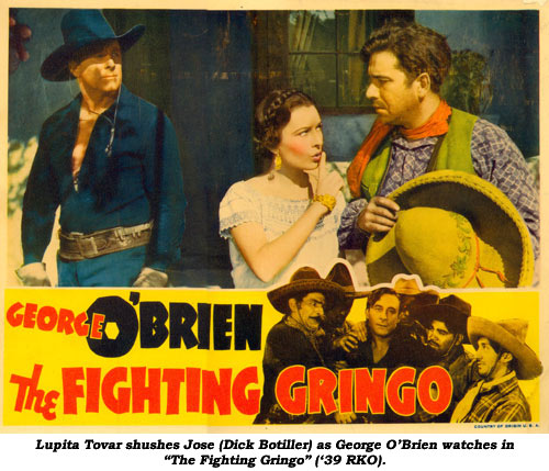 "Lupita Tovar shushes Jose (Dick Botiller) as George O'Brien watches in ""The Fighting Gringo"" ('39 RKO)."