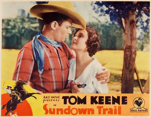 "Title card for ""Sundown Trail"" starring Tom Keene and Marion Shilling."