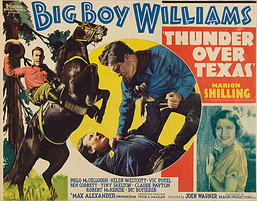 "Title card for ""Thunder Over Texas"" starring Big Boy Williams and Marion Shilling."