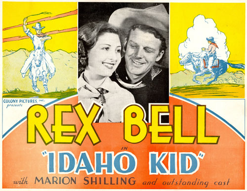 "Title card for ""Idaho Kid"" starring Rex Bell and Marion Shilling."