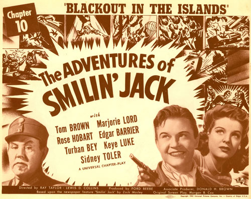 "Title card for ""The Adventures of Smilin' Jack"" with Tom Brown and Marjorie Lord."
