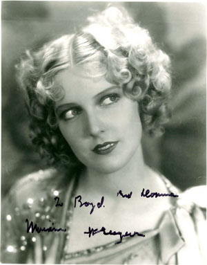 Autographed photo of Miriam Seegar.