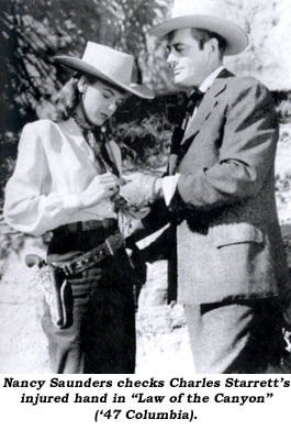 "Nancy Saunders checks Charles Starrett's injured hand in ""Law of hte Canyon"" ('47 Columbia)."