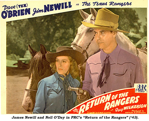 "James Newill and Nell O'Day in PRC's ""Return of the Rangers"" ('43)."