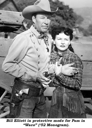 "Bill Elliott in protective mode for Pam in ""Waco"" ('52 Monogram)."
