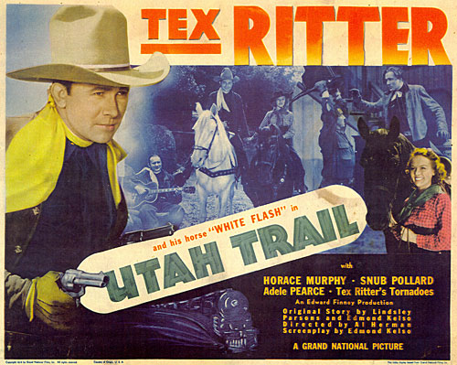"Title card for ""Utah Trail"" starring Tex Ritter."