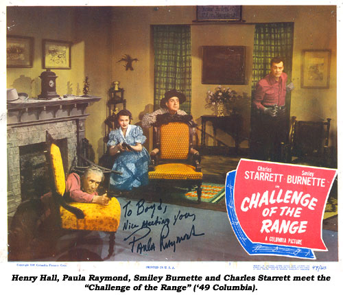 "Henry Hall, Paula Raymond, Smiley Burnette and Charles Starrett meet the ""Challenge of the Range"" ('49 Columbia)."