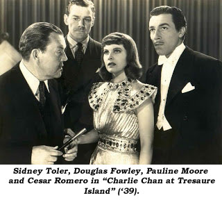 "Sidney Toler, Douglas Fowley, Pauline Moore and Cesar Romero in ""Charlie Chan at Treasure Island"" ('39)."